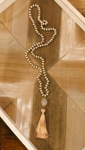 Beige Tassel  with Druzy Stone Necklace