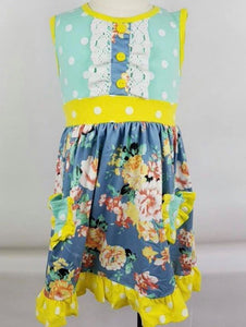 Yellow and Blue Patchwork Girls Dress