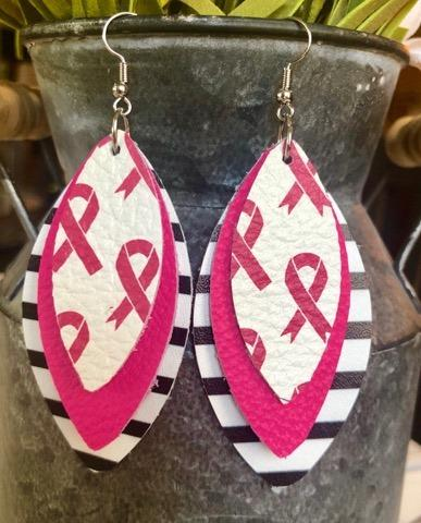Breast Cancer Awareness Triple Stack Earrings