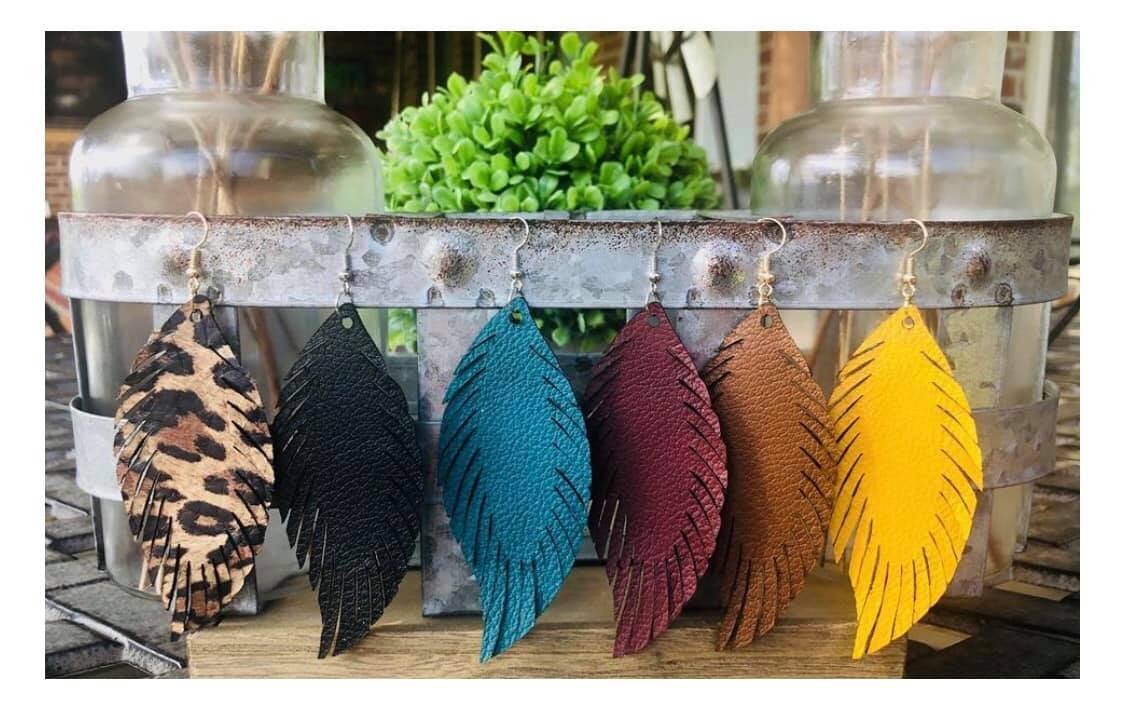 Feather Shaped Earrings, Assorted Colors