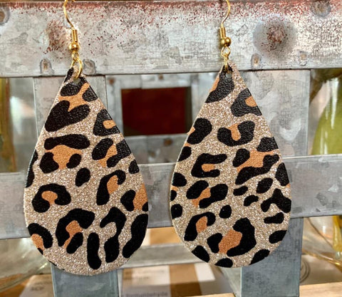 Leopard Glitter Teardrop Earrings