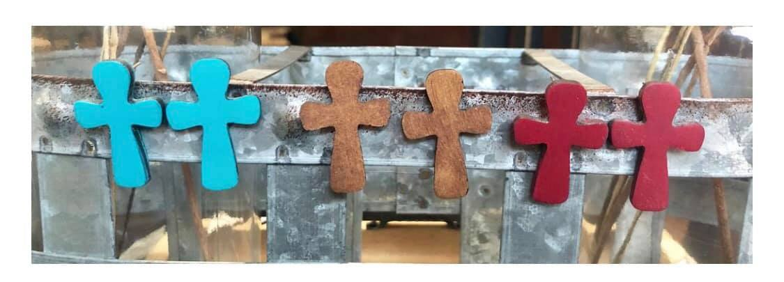 Cross Stud Post Wood Earrings, Assorted Colors