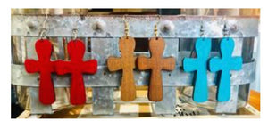 Cross Dangle Wood Earrings, Assorted Colors