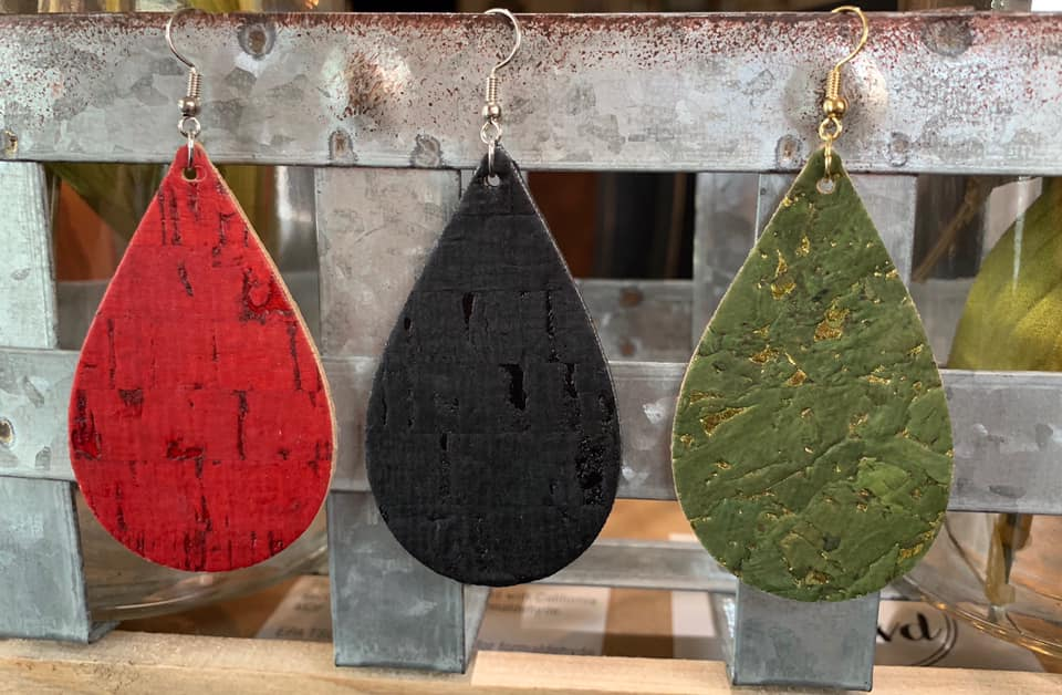 Cork Teardrop Earrings, Assorted Colors