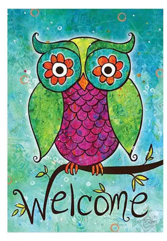 Green Welcome Owl Home Garden Flag, 12x18