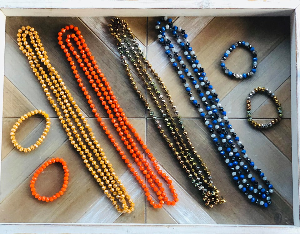 "60"" Wrap Necklaces and matching Bracelets, Assorted Colors"