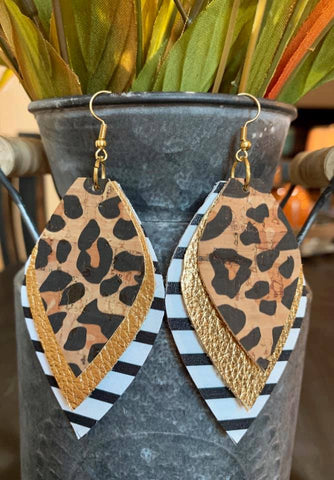 Leopard, Gold, and  Black & White Stripe Teardrop Triple Layered Earrings