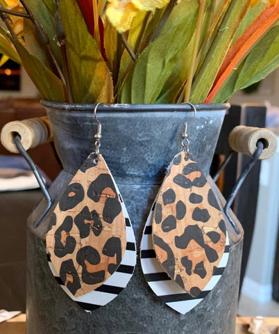 Leopard and Black & White Stripe Teardrop Double Layered Earrings