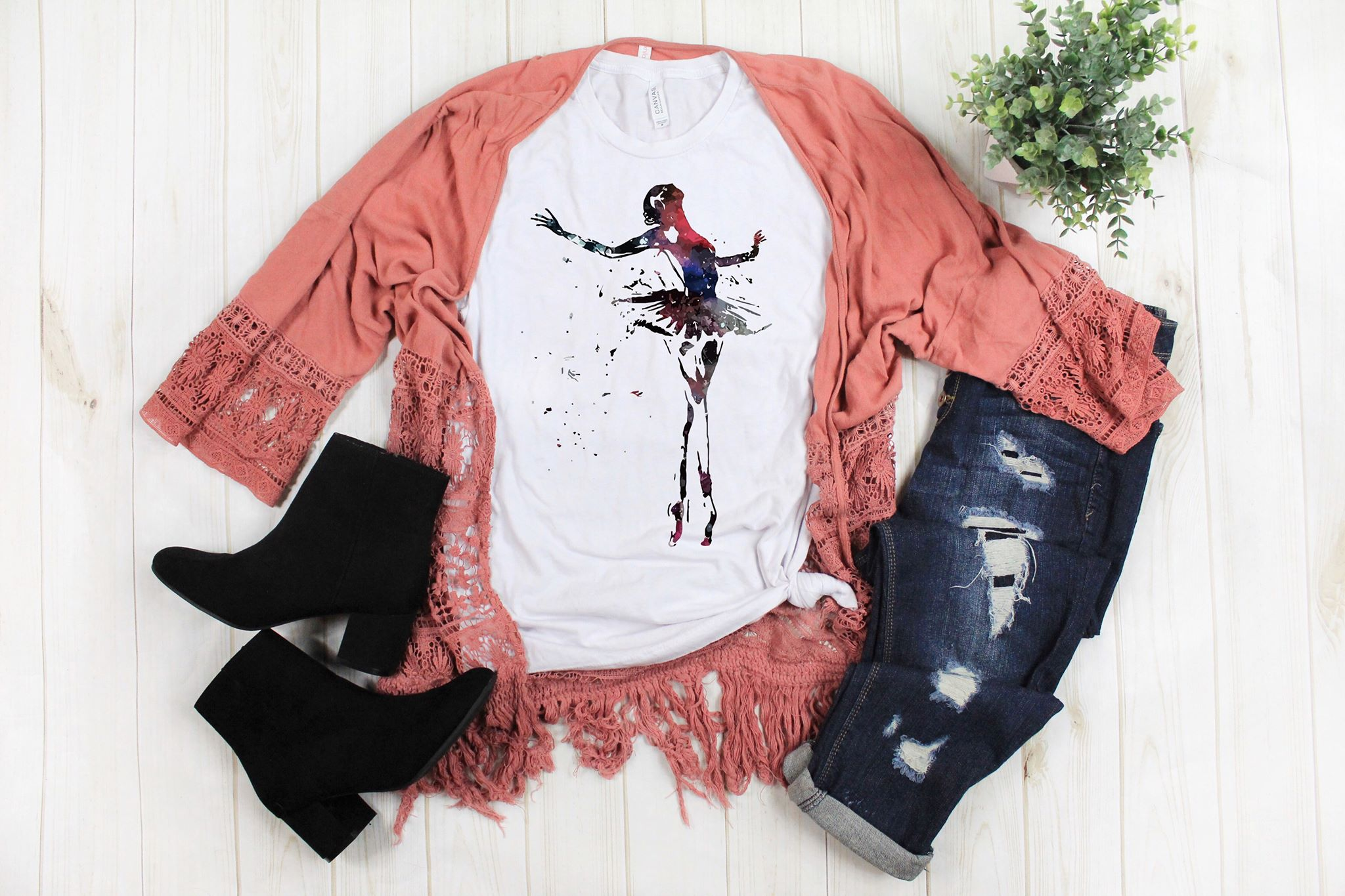Watercolor Ballerina Dancer Tee