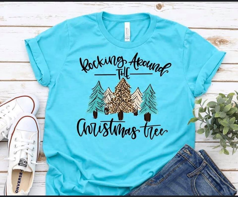 Leopard and Aqua Rocking Around the Christmas Tree Tee