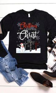 Christmas Begins with Christ Snowman Tee