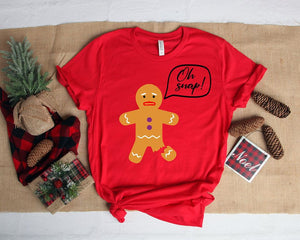 Oh Snap Gingerbread Man Christmas Tee