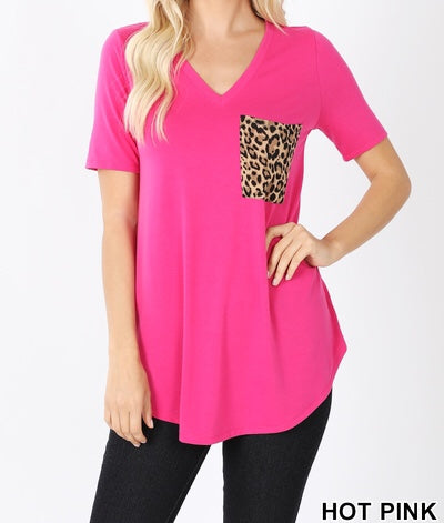 Zenana Leopard Print Pocket Shirt