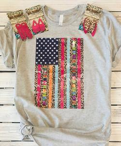 Colorful American Flag Gray T-shirt