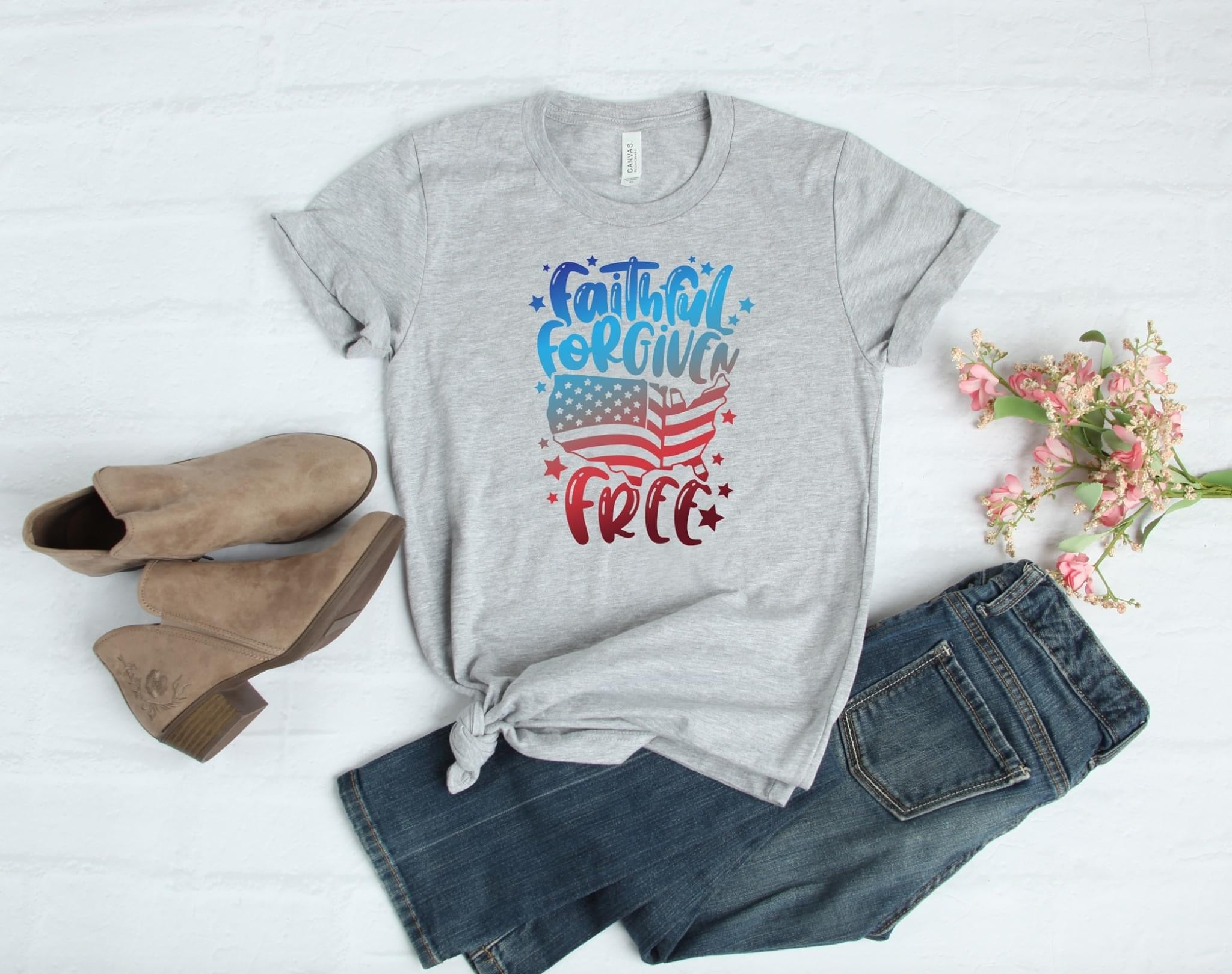 Faithful Forgiven Free Gray Tee