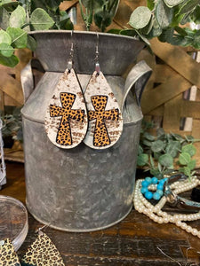 Leopard Cross Teardrop Earrings