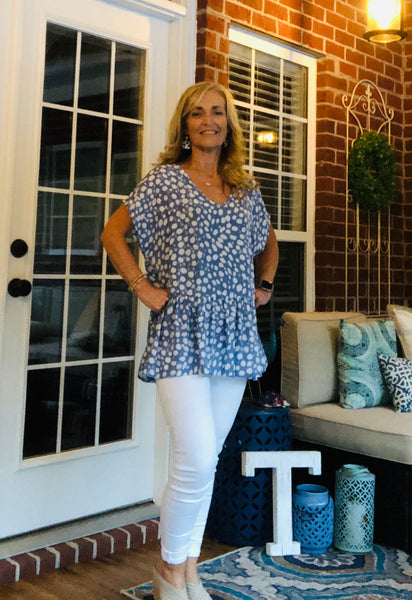 Blue Animal Print Peplum Shirt
