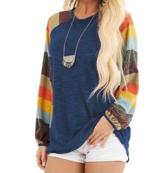 Multicolor Striped Balloon Sleeves Blue Knit Top