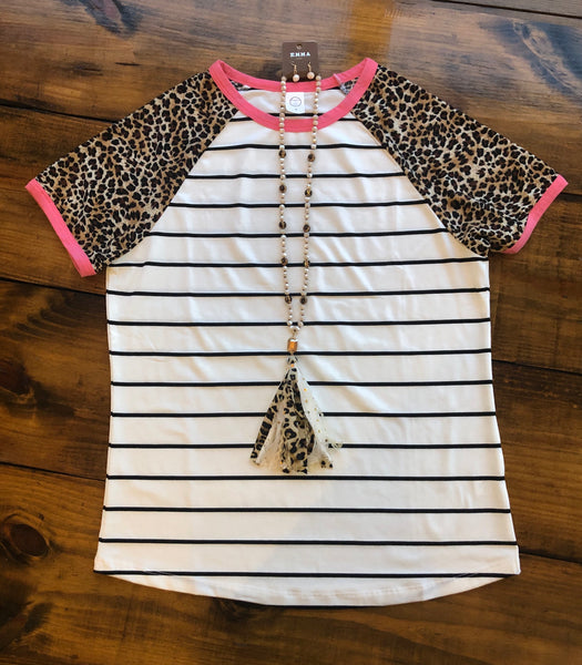 Stripes and Leopard Short Sleeve Ringer Tee