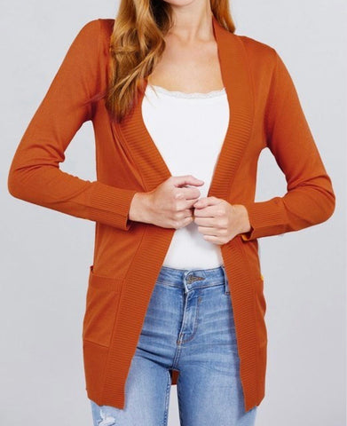 Long Sleeve Rib Banded Open Cardigan