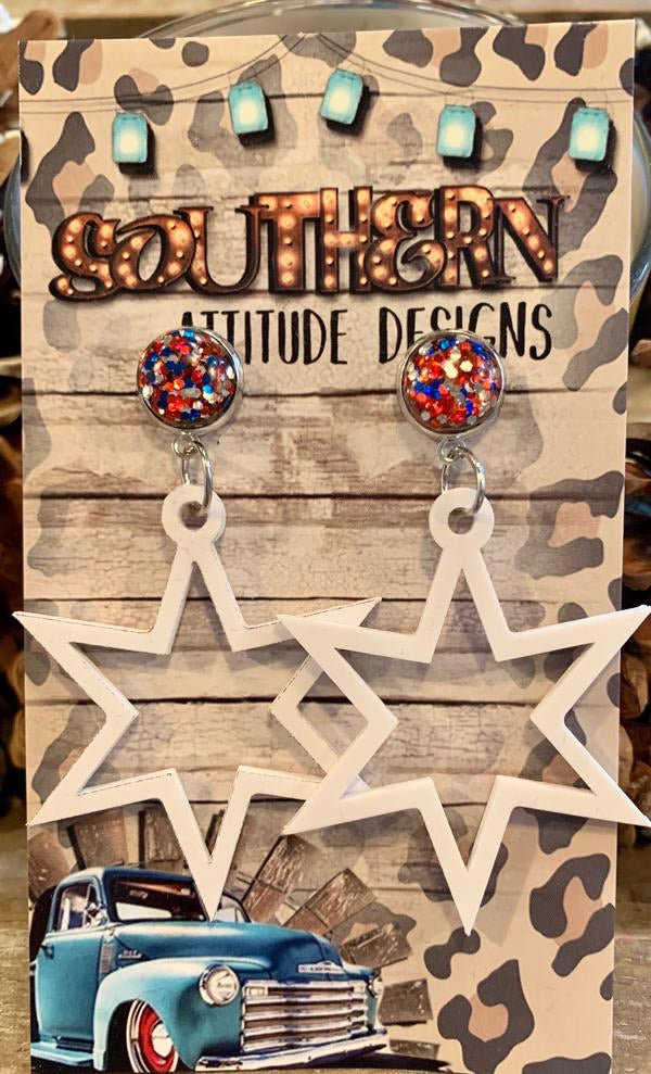 Acrylic Stars w/ Patriotic Studs Earrings