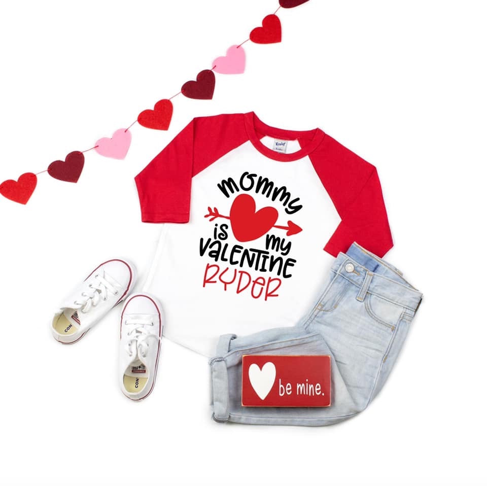 Mommy is My Valentine Personalized Raglan Tee