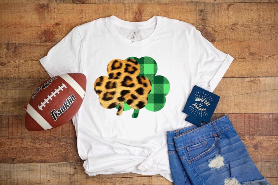 Leopard Plaid Clovers White T-shirt