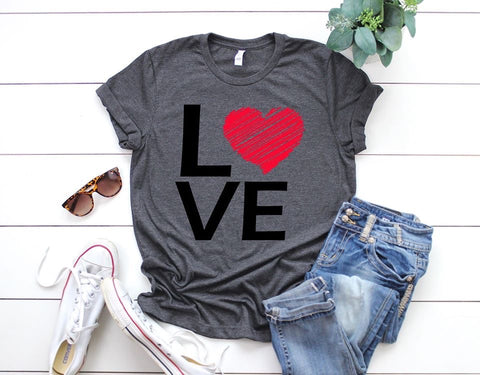 Red Heart Love Square Tee