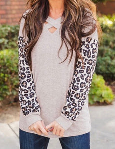 Crisscross Leopard Sleeve Knit Shirt