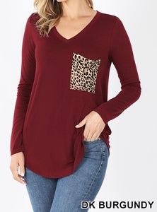 Zenana Leopard Print Pocket Long Sleeve Shirt