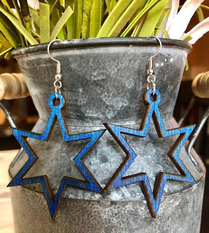 Wood Cut Stars Earrings