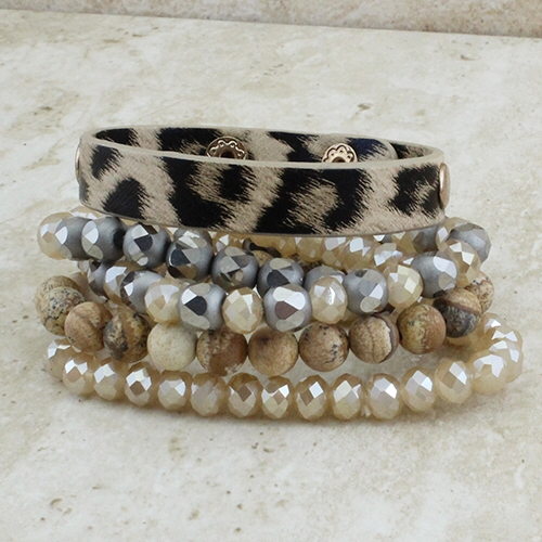 Leopard Stacked Bracelet Set