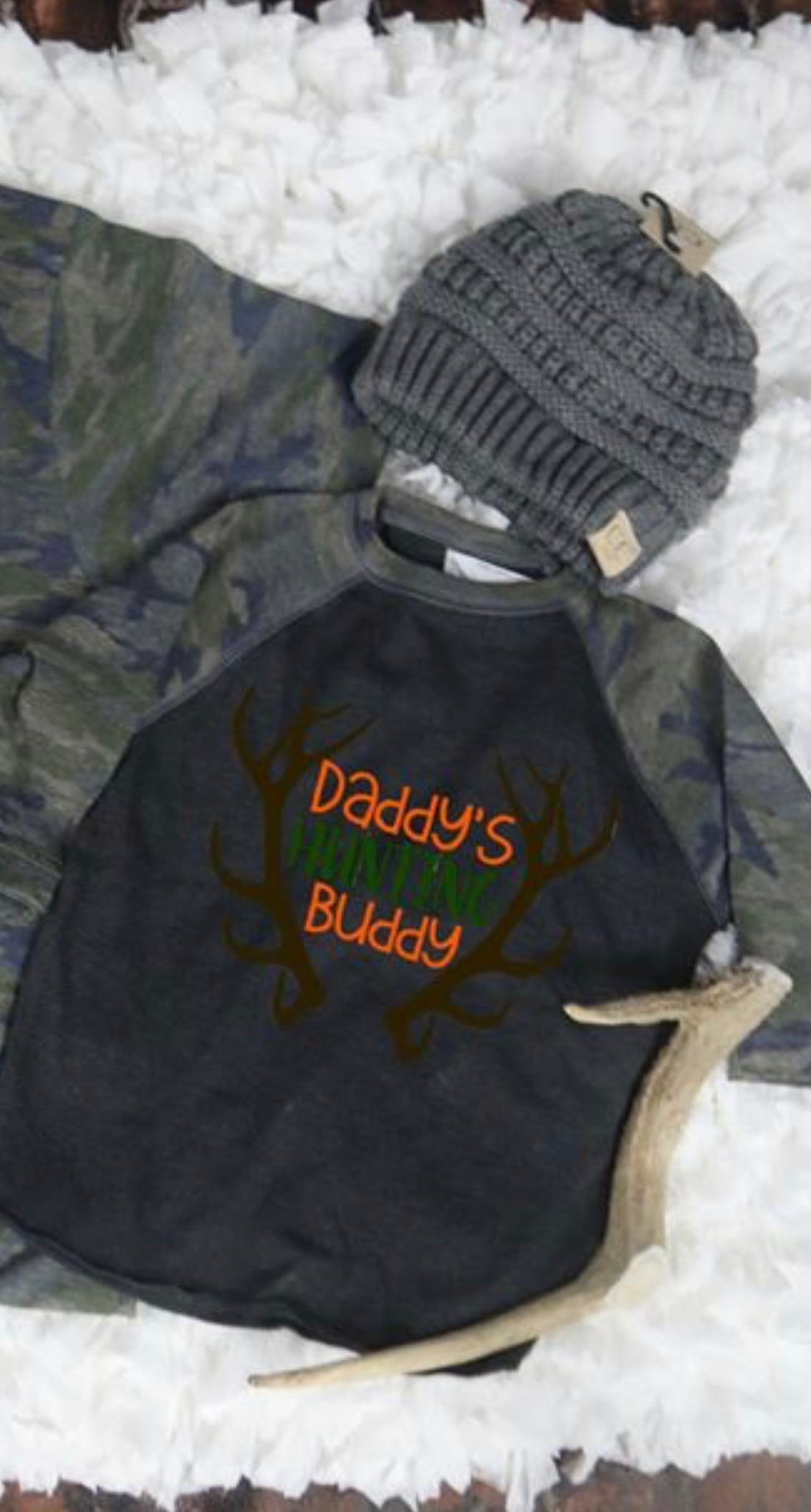 Daddy's Hunting Buddy Camo Raglan