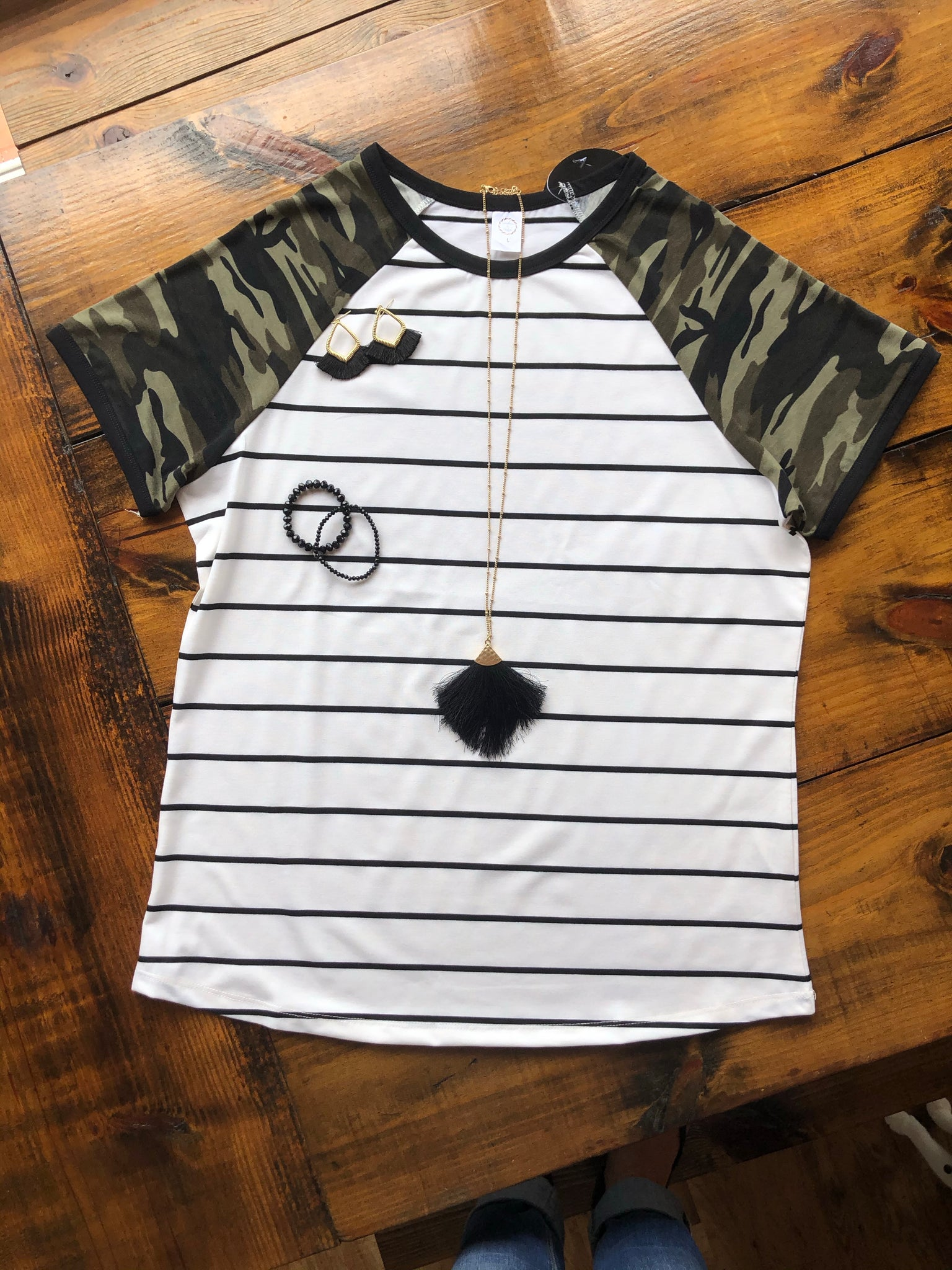 Stripes and Camouflage Short Sleeve Ringer Tee