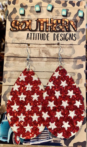 Red Glitter Star Teardrop Earrings