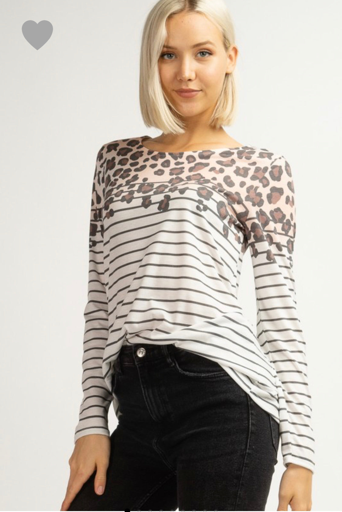 Leopard Print/Striped Long Sleeve Shirt