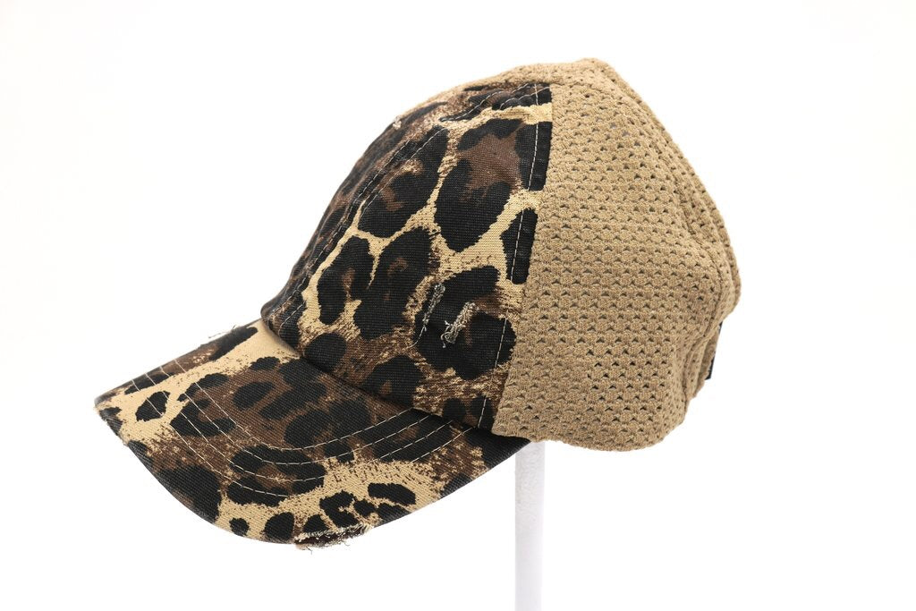 Leopard Mesh High Ponytail Cap