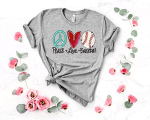 Peace Love Baseball Tee