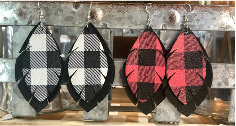 Buffalo Plaid Layered Feather Earrings