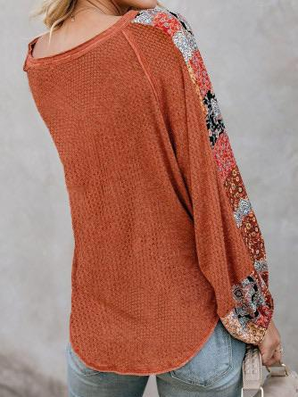 Long Sleeve Rust Contrast Sleeve Waffle Knit Shirt