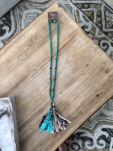 Leopard Print Tassel Necklace