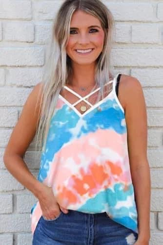 Tie Dye Criss Cross Strappy Tank