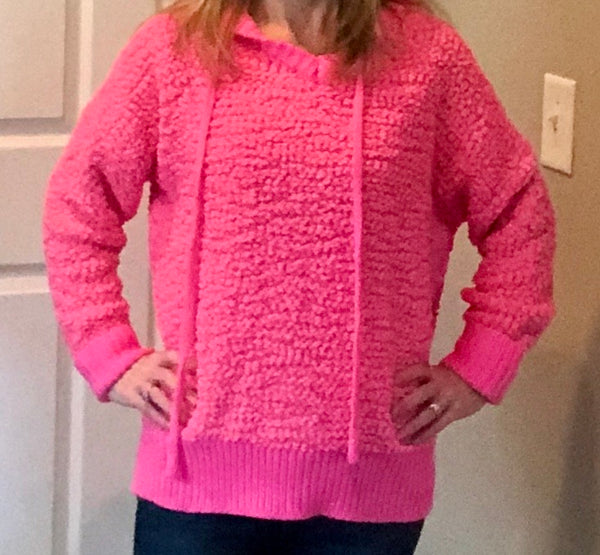 Pink Hooded Popcorn Sweater