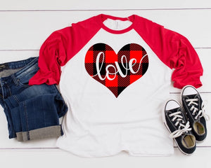 Love Buffalo Plaid Raglan Tee
