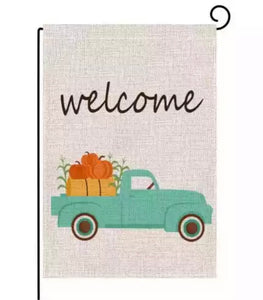 Welcome Fall Pumpkin Truck Garden Flag, 12x18(hanger not included)