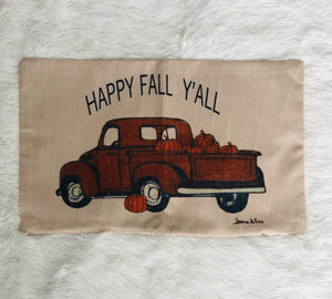 Happy Fall Y'all Rectangular Pillow Cover 12X18