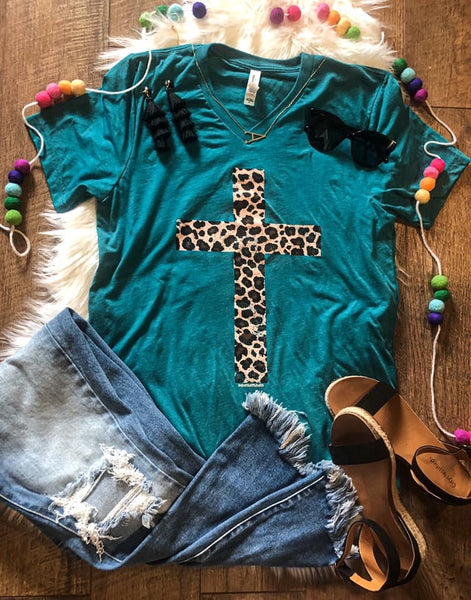 Leopard Cross V-neck Tee