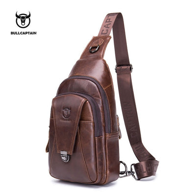 BULLCAPTAIN High Quality Men Genuine Leather Chest Bag