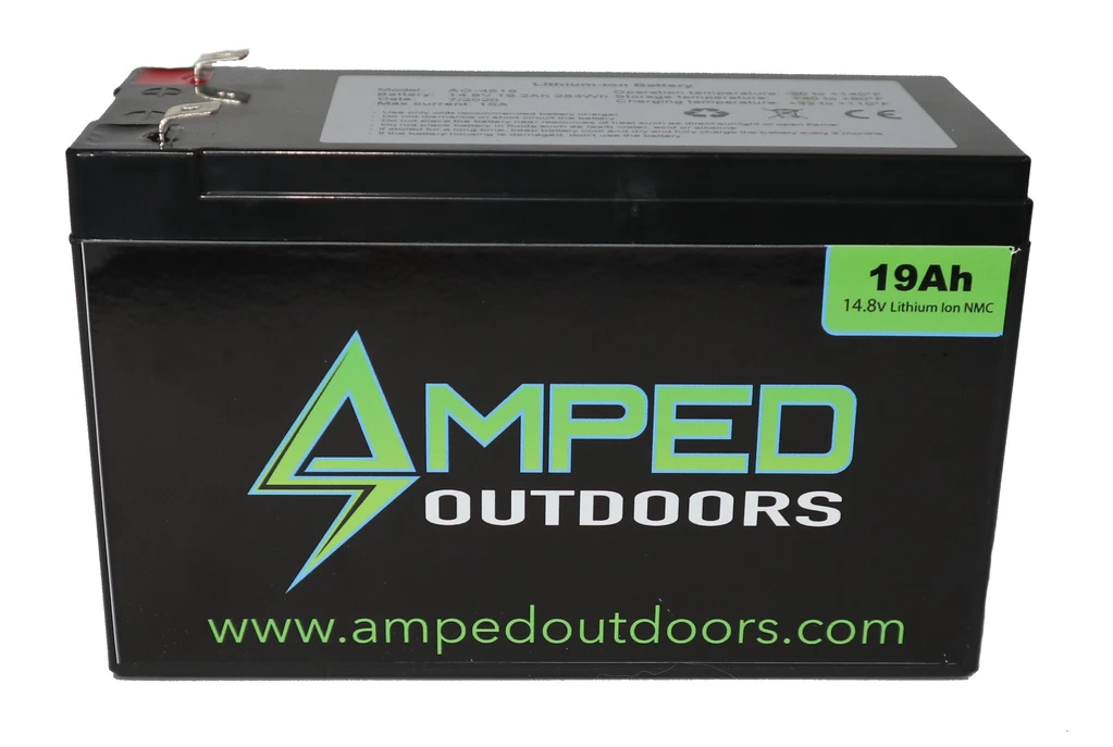 Amped Outdoors 19Ah Lithium Battery (14.8V NMC) with Charger