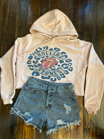 THE STONES CROPPED HOODIE